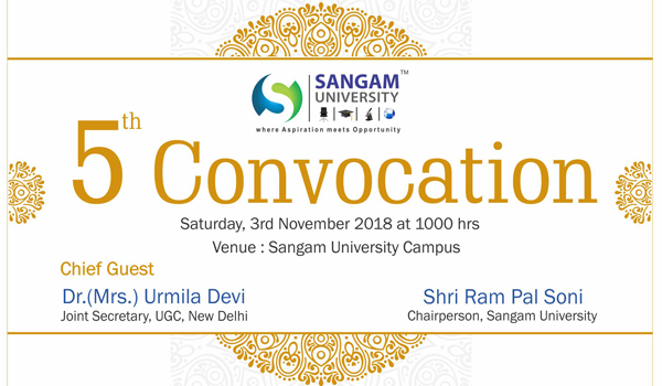 5th Convocation of Sangam University on 3 Nov 2018