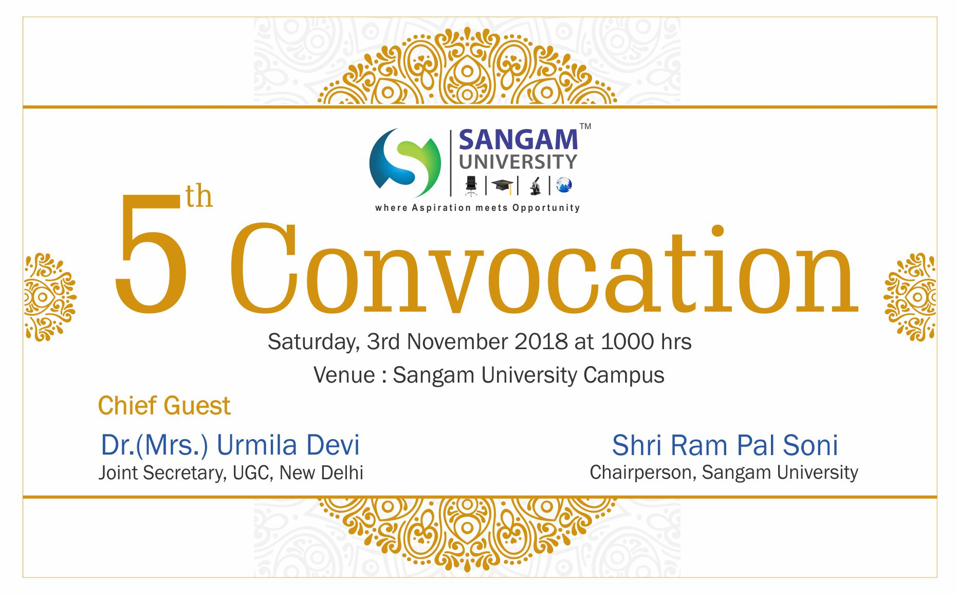 Invitation for 5th Convocation on 3rd November 2018
